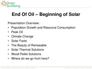 End Of Oil – Beginning of Solar