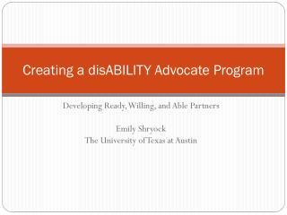 Creating a  disABILITY  Advocate Program