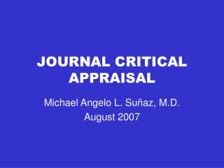 JOURNAL CRITICAL APPRAISAL