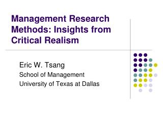 Management Research Methods: Insights from Critical Realism