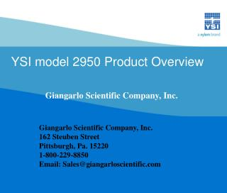 YSI model 2950 Product Overview