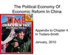 The Political Economy Of Economic Reform In China