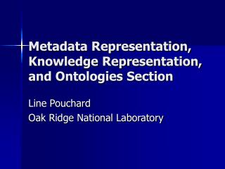 Metadata Representation, Knowledge Representation, and Ontologies Section