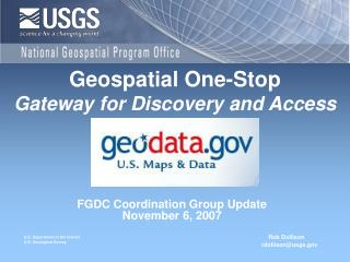 FGDC Coordination Group Update November 6, 2007
