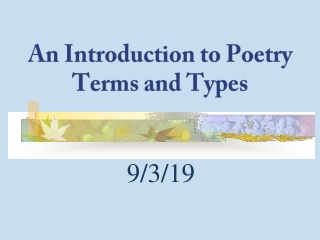 Poetry Terms and Figurative Language