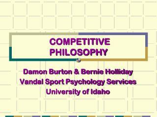 COMPETITIVE  PHILOSOPHY