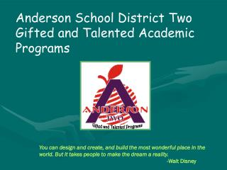 Anderson School District Two Gifted and Talented Academic Programs