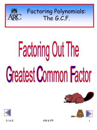 Factoring Polynomials: The G.C.F.