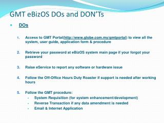 GMT eBizOS DOs and DON'Ts