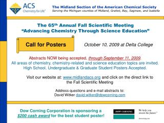 "The 65 th  Annual Fall Scientific Meeting ""Advancing Chemistry Through Science Education"""