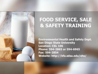 FOOD SERVICE, SALE & SAFETY TRAINING