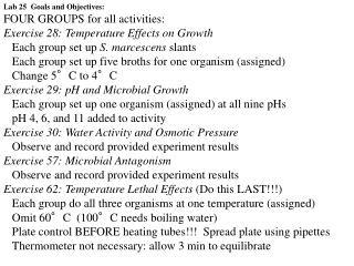 Lab 25  Goals and Objectives: FOUR GROUPS for all activities:
