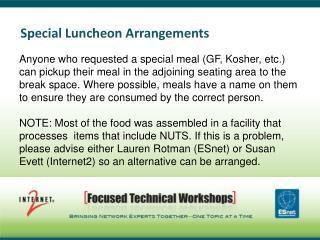 Special Luncheon Arrangements