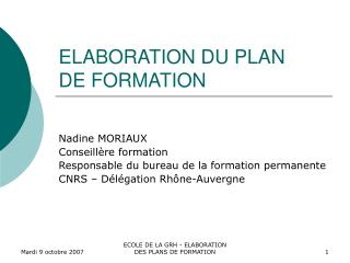 ELABORATION DU PLAN DE FORMATION