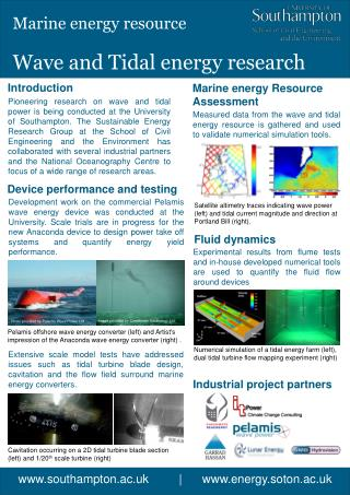 Wave and Tidal energy research