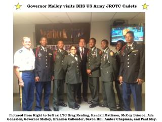 Governor Malloy visits BHS US Army JROTC Cadets