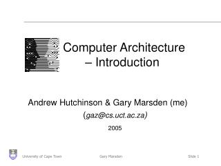 Computer Architecture  	– Introduction