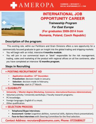 INTERNATIONAL JOB OPPORTUNITY CAREER Traineeship  Program For  East  Europe