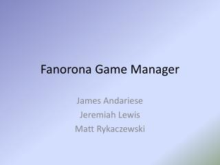 Fanorona Game Manager