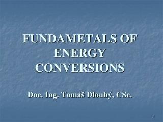 FUNDAMETALS OF ENERGY CONVERSIONS Doc. Ing. Tomáš Dlouhý, CSc.