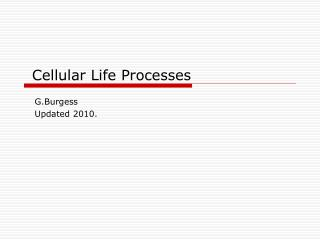 Cellular Life Processes