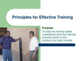 Principles for Effective Training