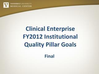 Clinical Enterprise FY2012 Institutional  Quality Pillar Goals