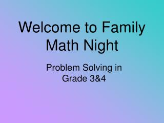 Welcome to Family Math Night