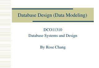Database Design (Data Modeling)