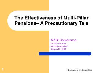 The Effectiveness of Multi-Pillar Pensions– A Precautionary Tale