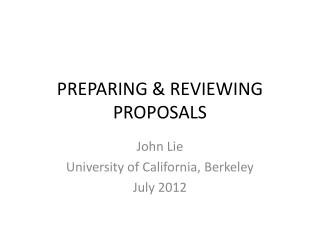 PREPARING & REVIEWING PROPOSALS