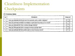Cleanliness Implementation Checkpoints