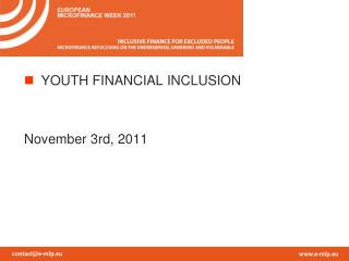 YOUTH FINANCIAL INCLUSION November  3rd, 2011