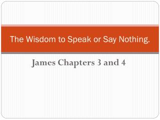 The Wisdom to Speak or Say Nothing.