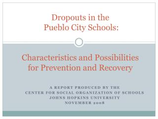 A Report produced by the Center for social organization of Schools Johns Hopkins University