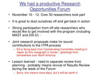 We had a productive Research Opportunities Forum