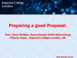 Preparing a good Proposal.