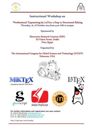 "Instructional Workshop  on "" Professional Typesetting by LaTex: a Step to Structured Editing"