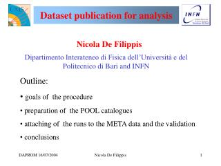 Dataset publication for analysis