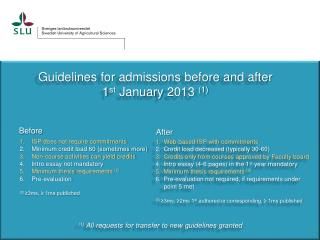 Guidelines  for  admissions before  and  after 1 st January  2013  (1)