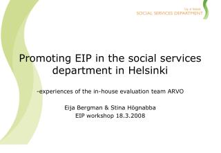 Promoting EIP in the social services department in Helsinki