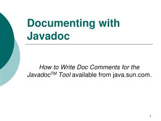 Documenting with Javadoc