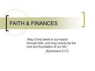 FAITH & FINANCES