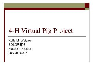 4-H Virtual Pig Project