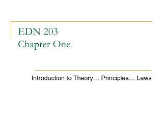 EDN 203 Chapter One