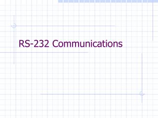 RS-232 Communications