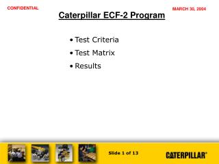 Caterpillar ECF-2 Program