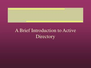 A Brief Introduction to Active Directory