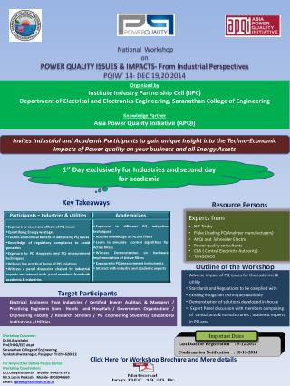 National  Workshop   on  POWER  QUALITY ISSUES & IMPACTS-  From  Industrial Perspectives