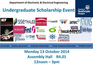 Department of Electronic & Electrical Engineering Undergraduate Scholarship Event